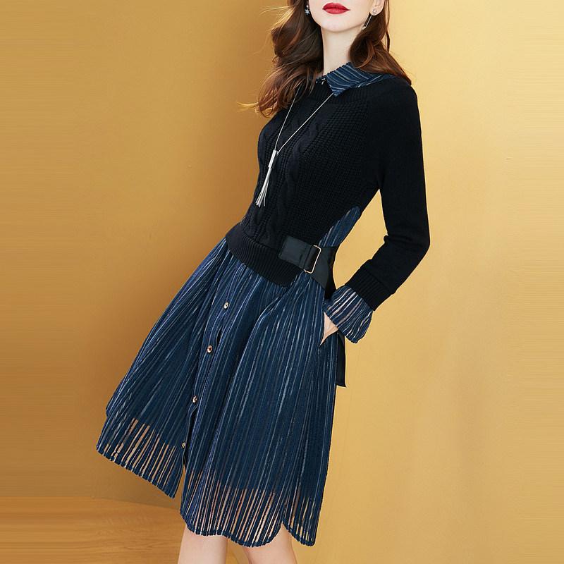毛衣裙子女2019新款长袖假两件打底针织连衣裙冬裙优惠券