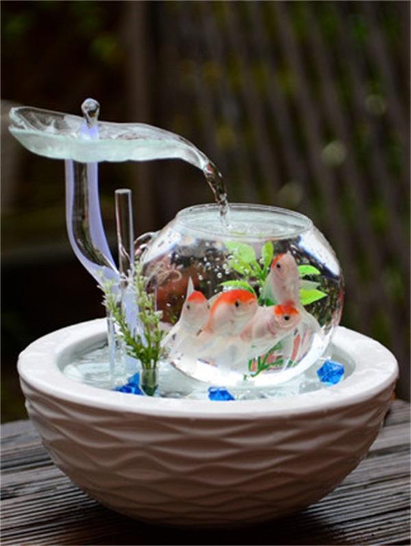 家居小型客厅鱼缸流水电视柜摆件陶瓷喷泉优惠券