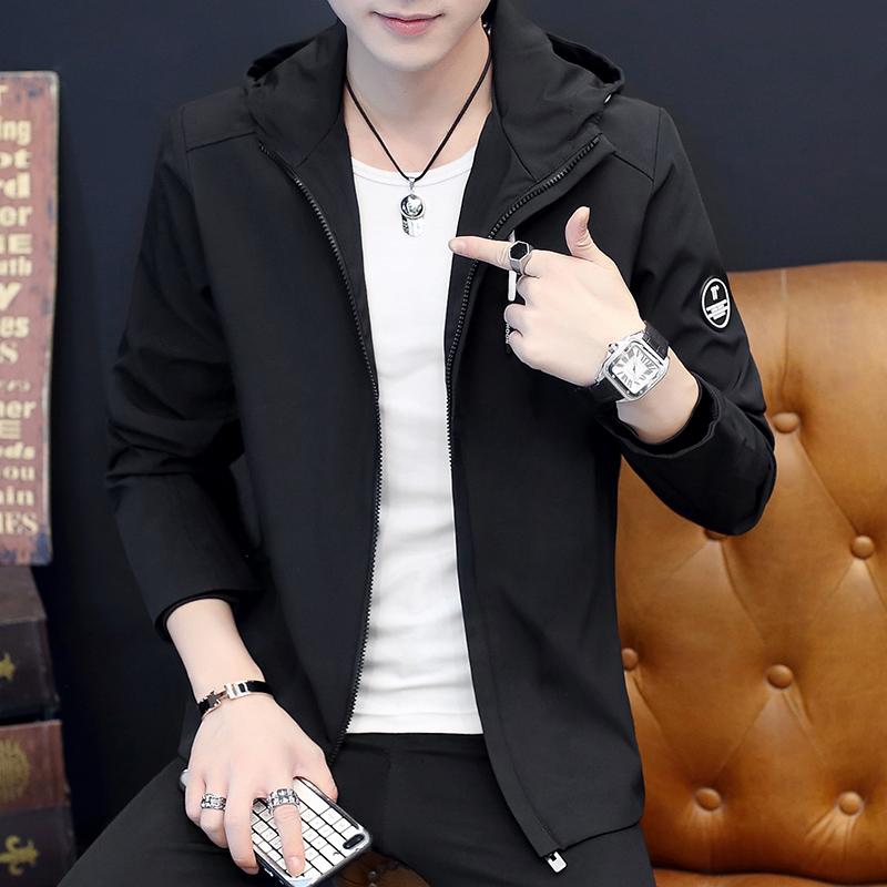 秋季新款韩版男士时尚连帽夹克外套优惠券
