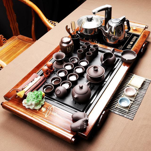 茶具功夫茶具紫砂茶具套装实木茶盘电热磁炉
