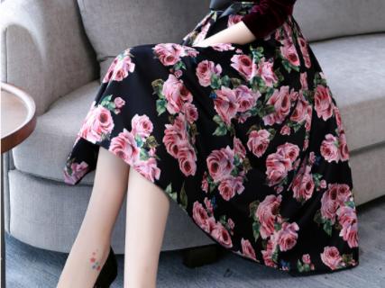 秋装长袖金丝绒碎花连衣裙名媛高挑显瘦秋裙优惠券