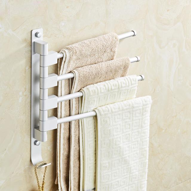 浴室旋转毛巾杆 免打孔创意卫生间毛巾架优惠券