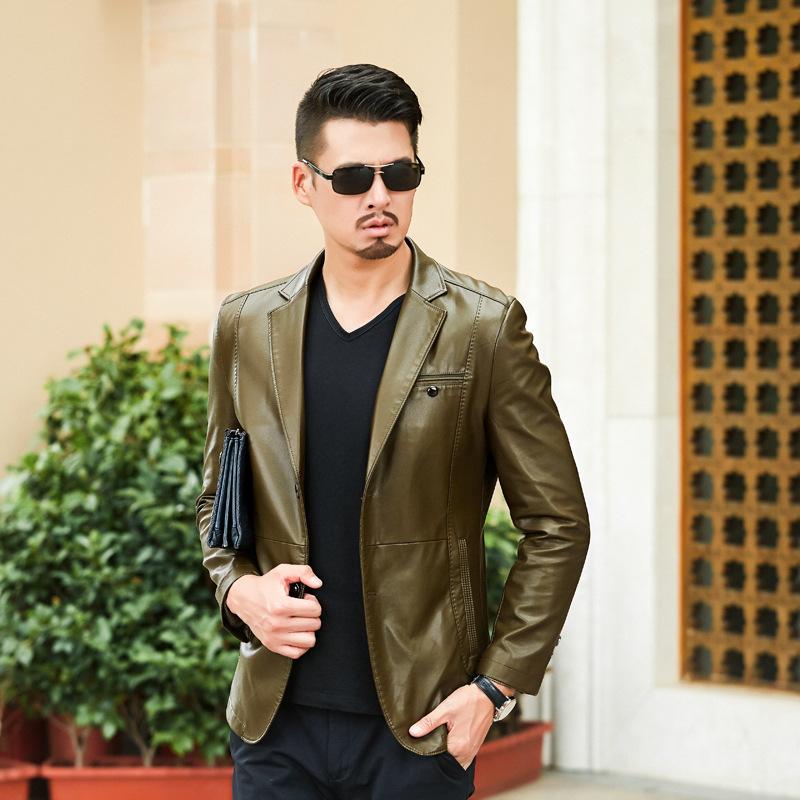 男士皮衣PU夹克商务休闲西装领皮夹克外套优惠券