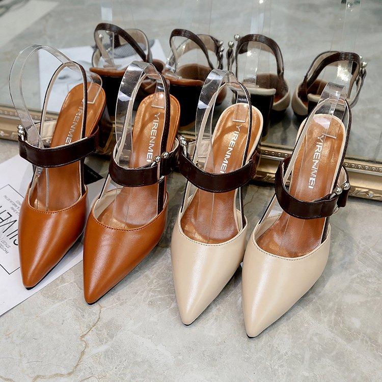 中跟玛丽珍鞋百搭文艺包头粗跟凉鞋优惠券