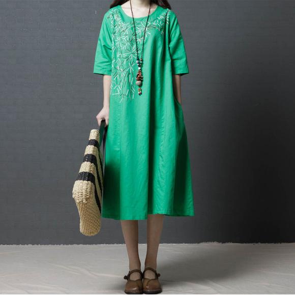 时尚魅力亚麻圆领五分袖连衣裙优惠券