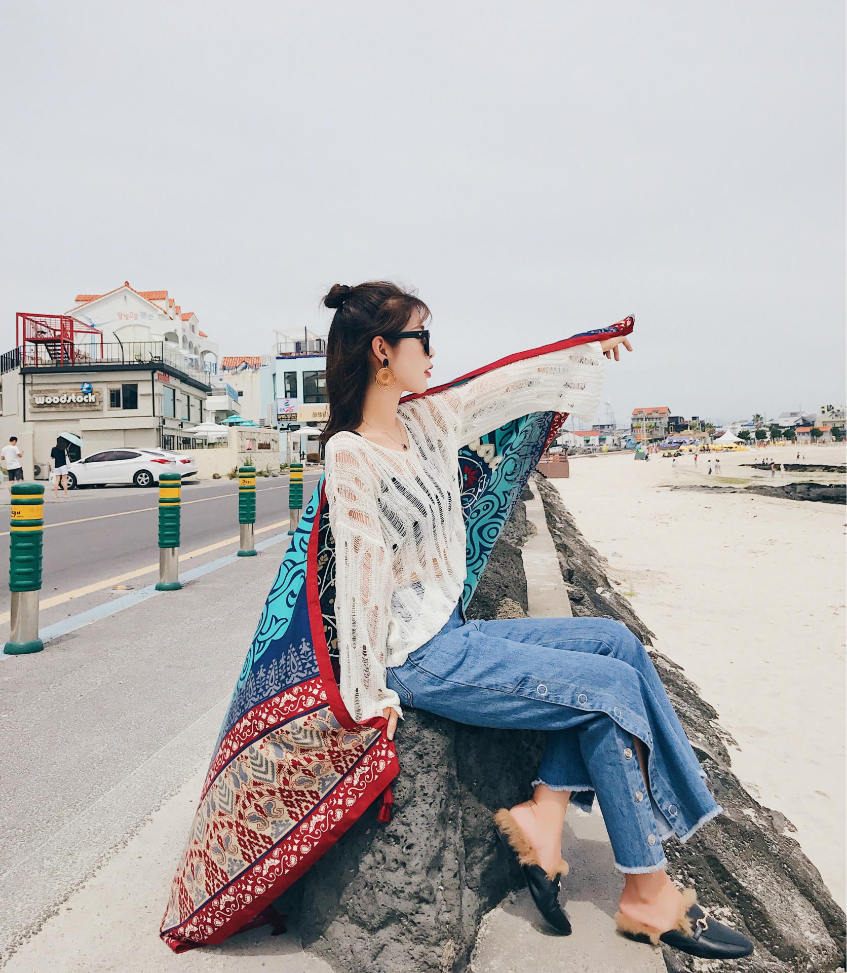 wf夏季女士海边沙滩防晒披肩围巾优惠券