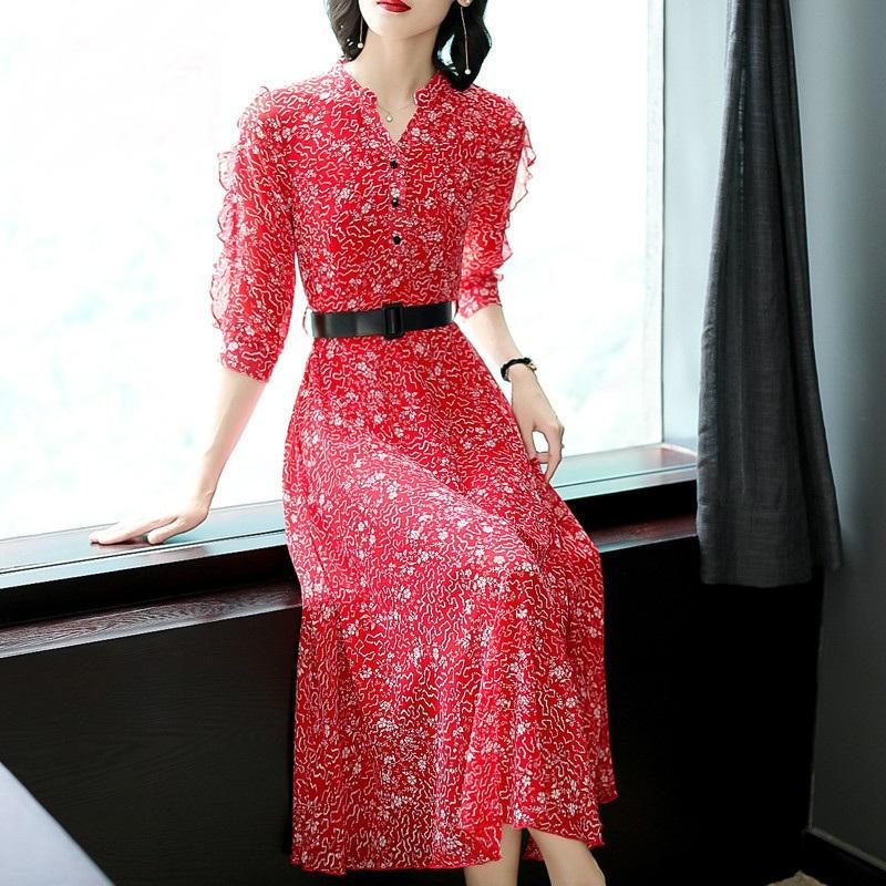 秋季新款长裙时尚收腰雪纺花边袖连衣裙优惠券