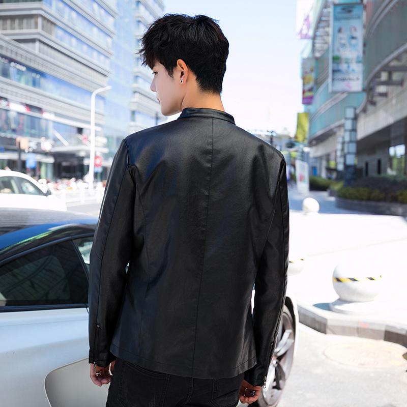男士PU皮衣韩版修身皮夹克休闲时尚立领青优惠券
