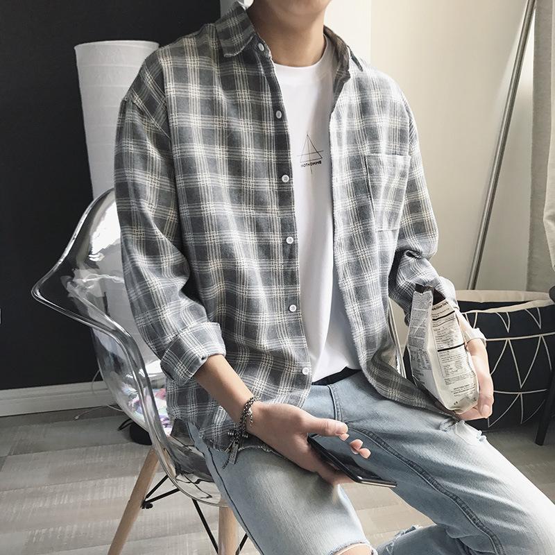 2018格子衬衫男新款韩版宽松上衣秋季休优惠券