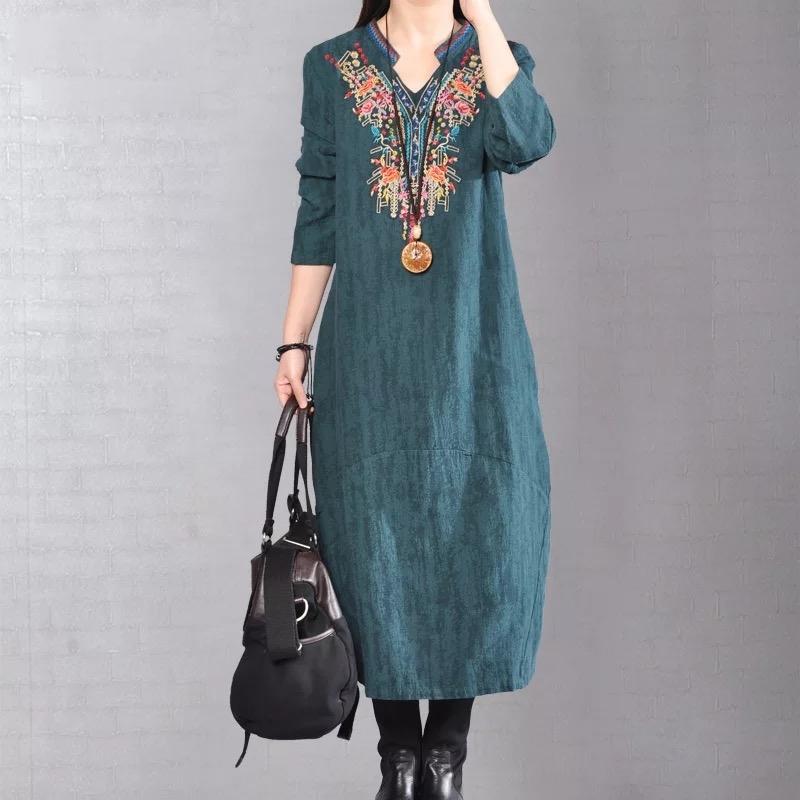 复古刺绣棉麻连衣裙优惠券