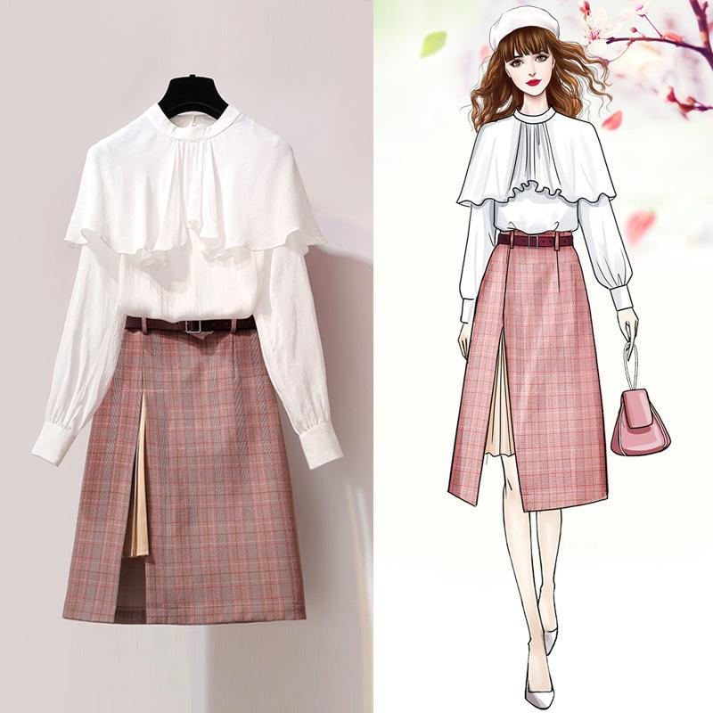 2019套装港味女神洋气格子很仙的御姐两件套裙 YMZ8155优惠券