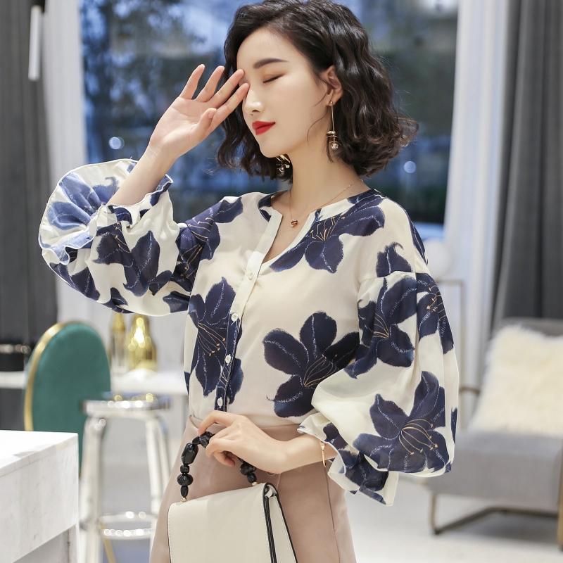 秋装韩版新款V领荷叶边衬衫印花灯笼袖衫优惠券