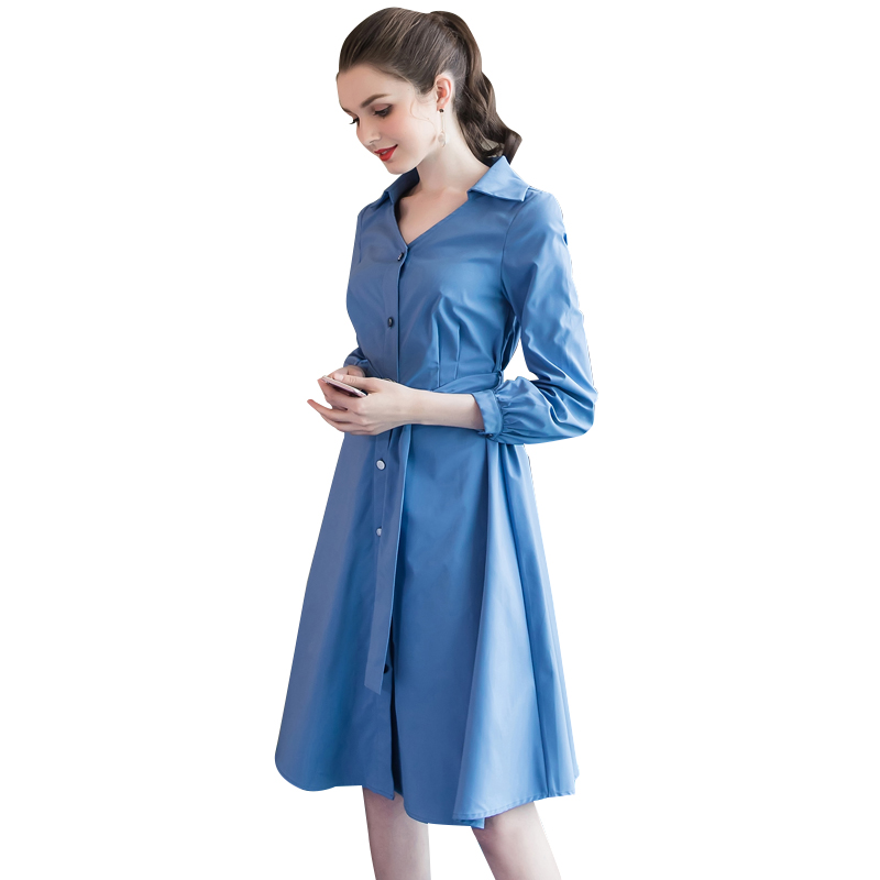 气质V领遮肚子开襟裙子5507优惠券