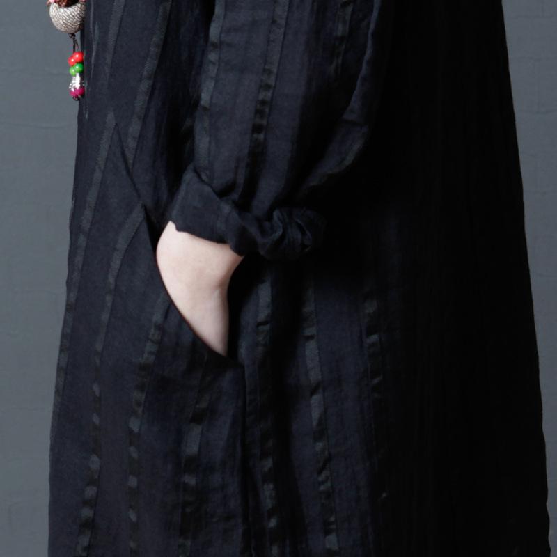宽松大码条纹亚麻衬衫裙优惠券