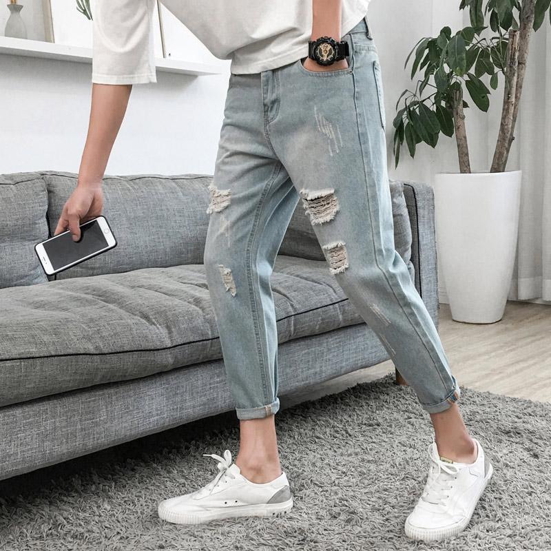 z1 夏季新款男士破洞韩版潮流九分牛仔裤优惠券