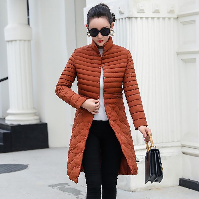 新款韩版修身羽绒服女轻薄中长款棉衣外套优惠券