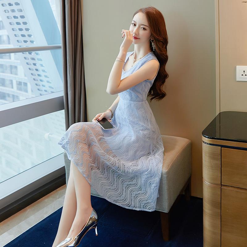 冷淡风蕾丝连衣裙温柔超仙女收腰显瘦裙子优惠券