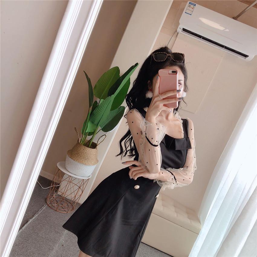 气质排扣拼网纱袖子显瘦连衣裙优惠券