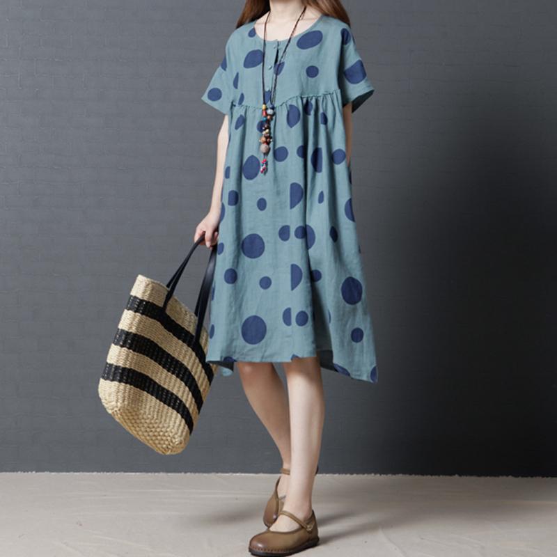 时尚棉麻圆点印花中长款短袖连衣裙优惠券