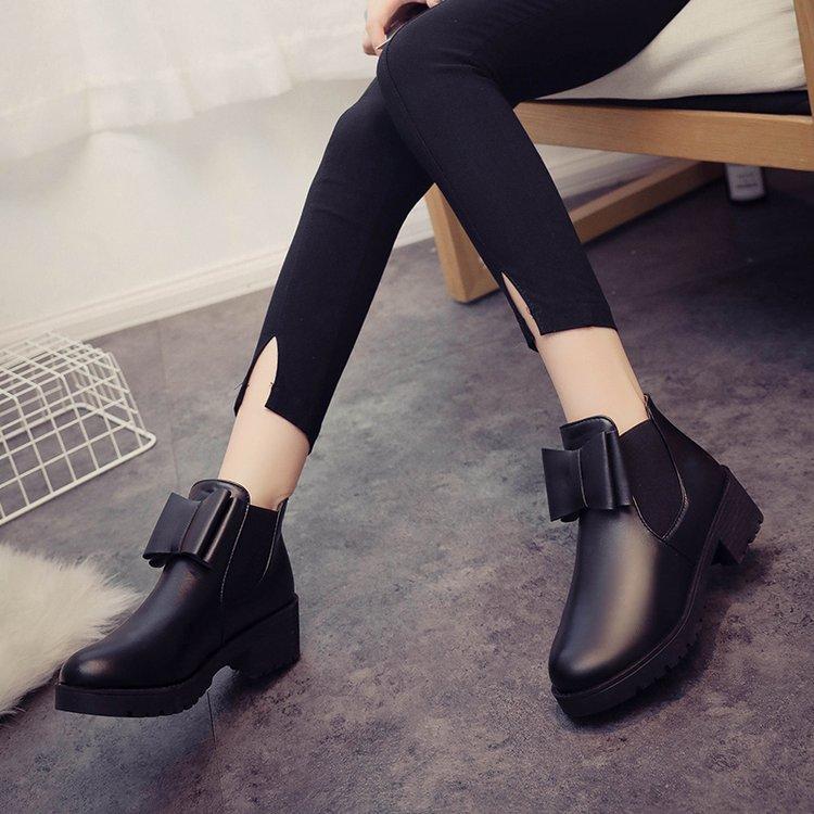 短靴秋套脚松糕鞋粗跟御姐短筒女女马丁靴优惠券