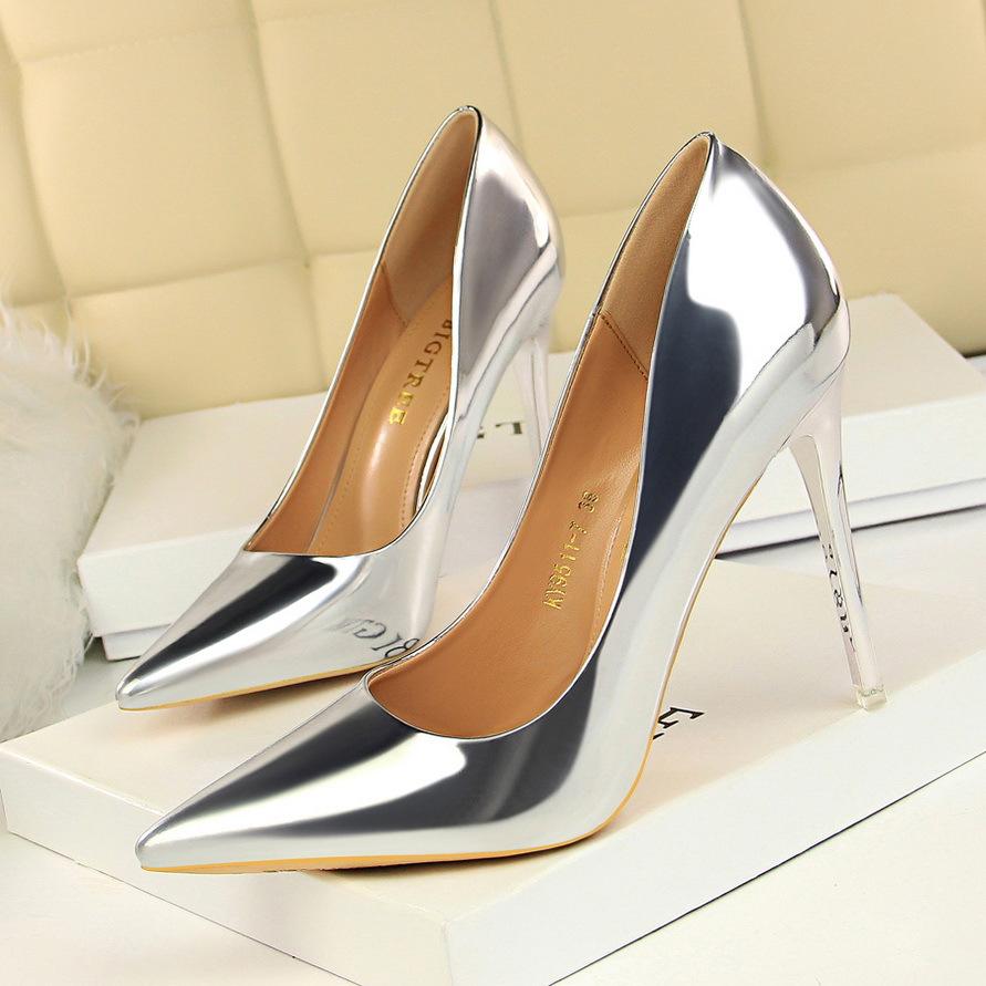 欧美风时尚金属跟高跟鞋女鞋高跟浅口优惠券