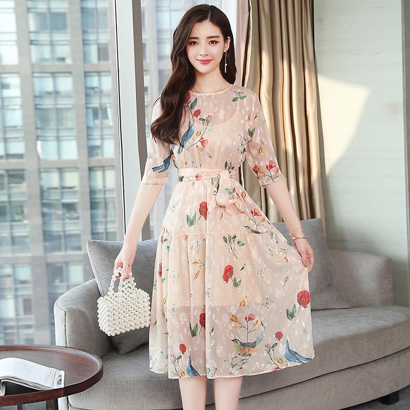 夏季女装韩版显瘦印花连衣裙优惠券