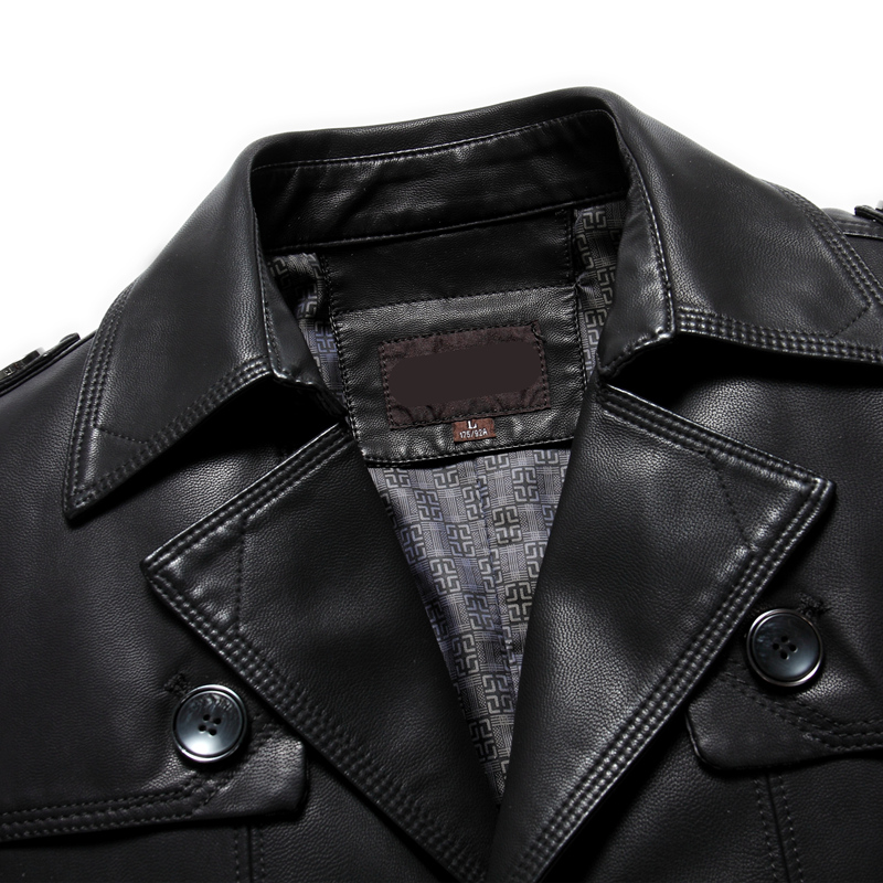 皮衣男中长款皮大衣中年修身皮风衣男装皮衣优惠券
