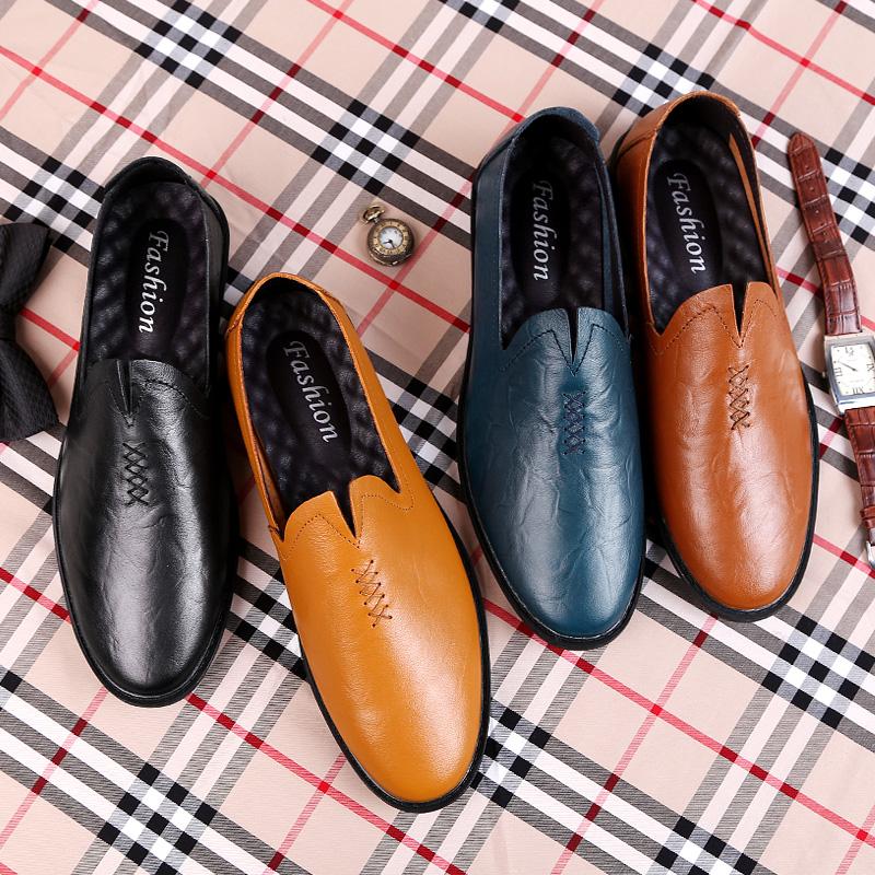 18春季新款男鞋真皮软底休闲皮鞋男豆豆鞋优惠券