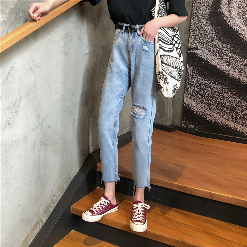 韩版高腰直筒裤显瘦哈伦破洞牛仔裤优惠券