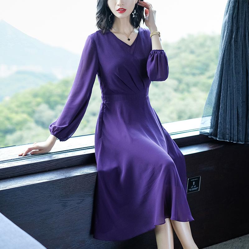 紫色雪纺连衣裙秋装新款气质长袖大摆裙子优惠券