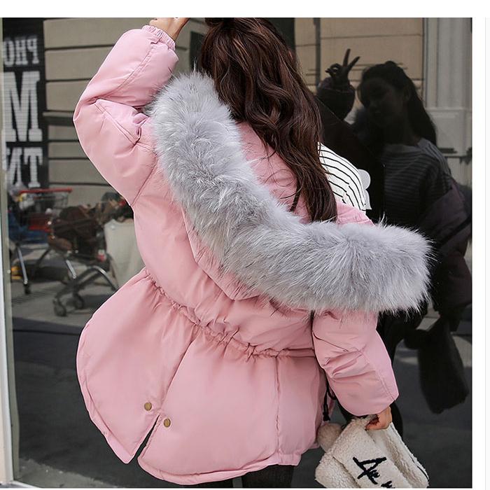 韩版超大毛领棉衣羽绒服外套女优惠券