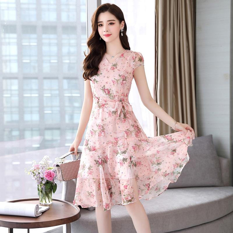 碎花雪纺连衣裙流行新款气质韩版收腰温柔裙优惠券