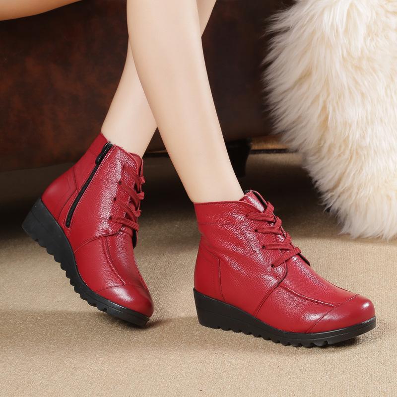 靴子女秋冬高帮短靴中跟坡跟厚底保暖妈妈鞋优惠券