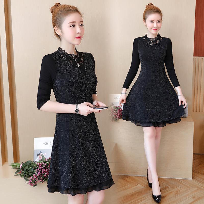 胖MM蕾丝连衣裙韩版时尚修身大码长袖优惠券