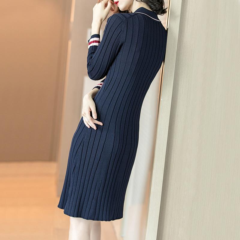 翻领竖条纹藏蓝色修身显瘦长袖针织连衣裙优惠券