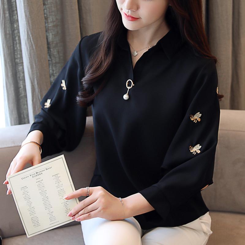 2018秋装新款韩版女装刺绣花雪纺衬衫女优惠券
