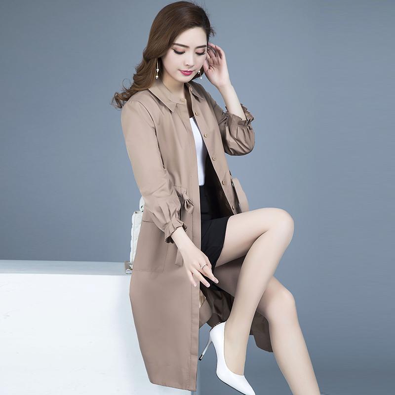 秋季薄风衣百搭大风衣外套修身外套大衣女装优惠券
