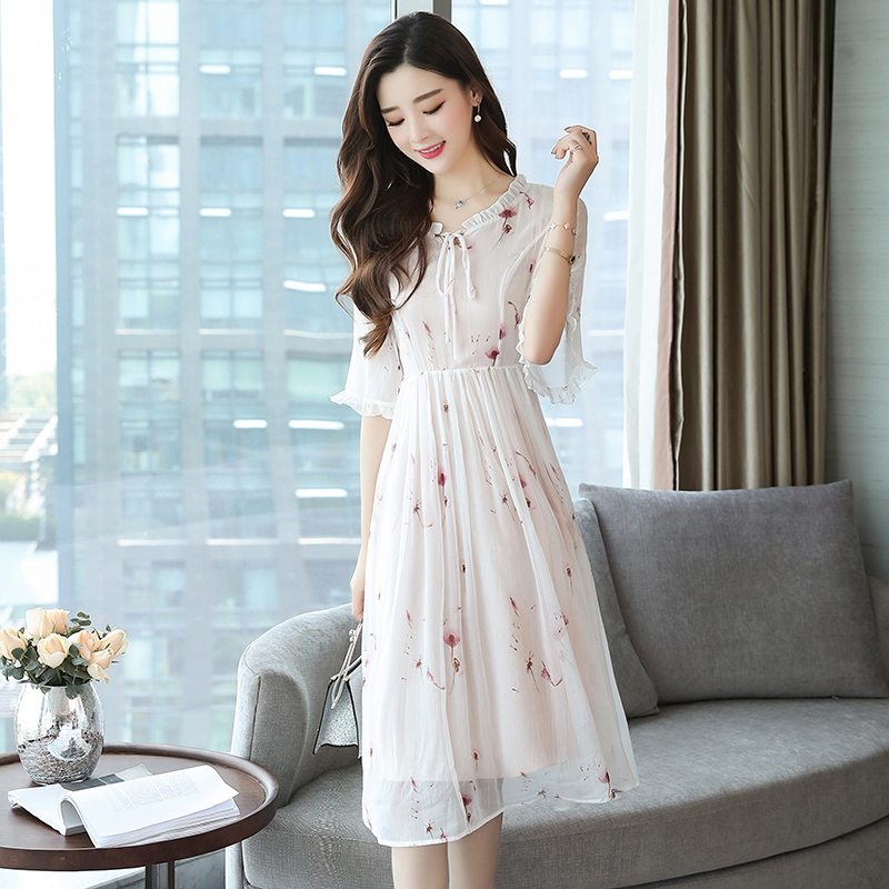 新款韩版碎花雪纺连衣裙气质仙女裙收腰长裙优惠券
