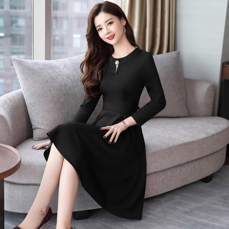 OL女装韩版修身长袖打底裙名媛气质长裙优惠券
