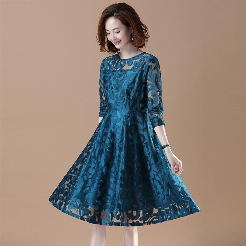 秋季新款货到付款大码蕾丝提花连衣裙女装优惠券